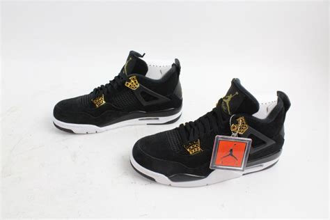 "Nike Air Jordan Retro 4s ""Royalty"" Shoes, Black White"